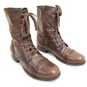 Steve Madden  Genuine Leather Lace Up Combat Boots